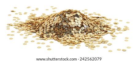 Big pile of golden Bitcoins - stock photo