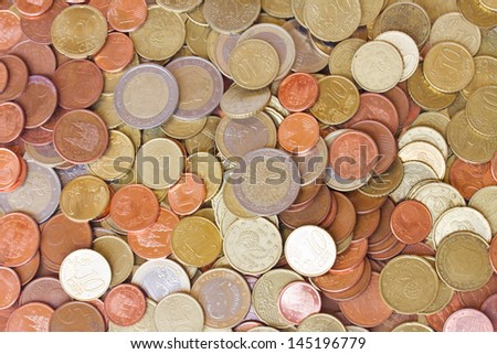big pile of mixed euro coins background - stock photo