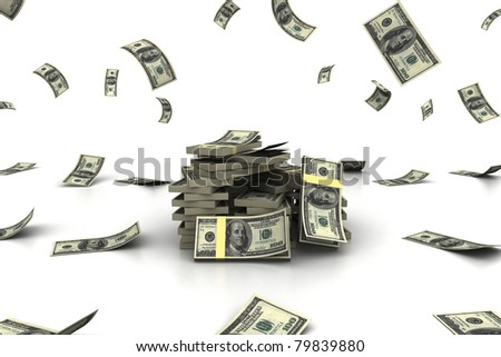 big pile of money - stock photo