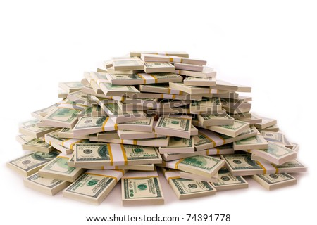 big pile of money. dollars over white background - stock photo