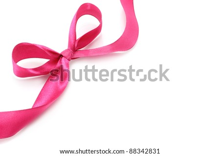 Big pink holiday bow on white background - stock photo
