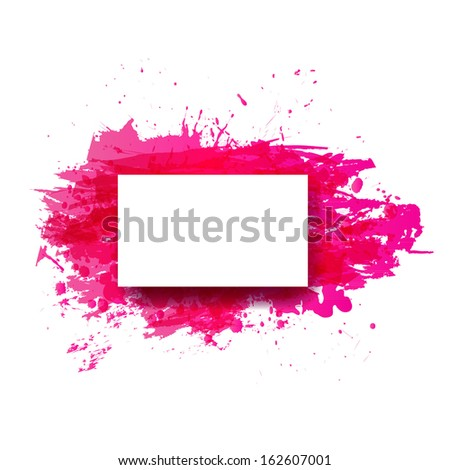 Big pink splash on white background.  Grunge background with place for your text.