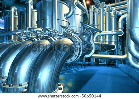 Big pipeline in the abstract refinery. Computer graphic image. 3D rendering illustration. - stock photo