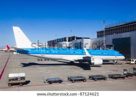 Big plane in an airport runway - stock photo