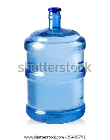 big plastic bottle for potable water isolated on a white background - stock photo