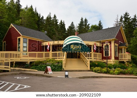 BIG POND, CANADA - AUG 3:  The Tea Room in the home town of the internationally popular singer Rita MacNeil is still a popular tourist attraction and business Aug 3, 2014 in Big Pond, Nova Scotia - stock photo