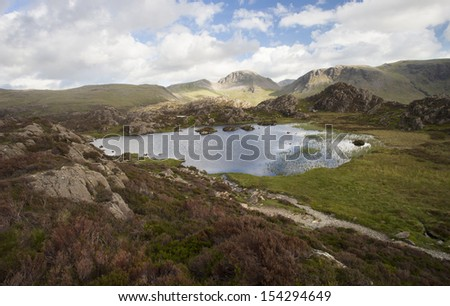 big pool up in a mountain landscape - stock photo