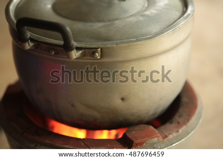 Big pot on traditional stove