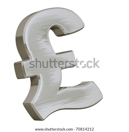 Big Pound symbol with a brushed metallic effect and shiny aspect