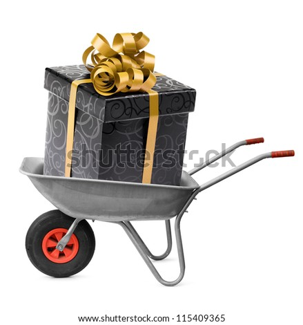 Big present box surprise in wheelbarrow cart isolated on white - stock photo