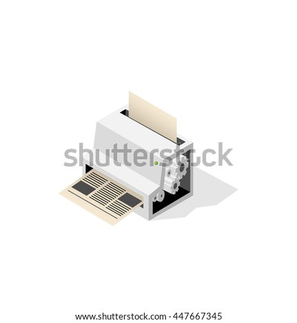 Big printer-fabric for printing newspaper. Isometric building.