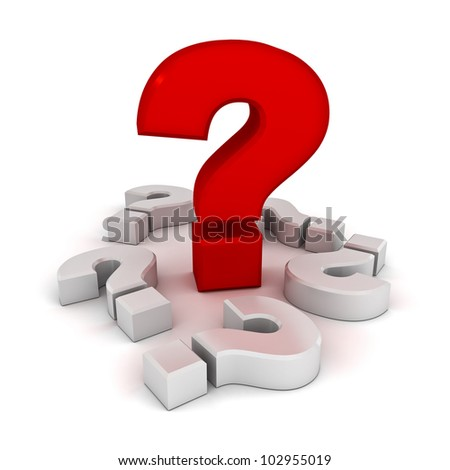 Big problem concept, red question mark amongst white question marks on white background