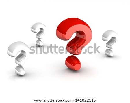 Big problem concept, red question mark amongst white question marks on white background - stock photo