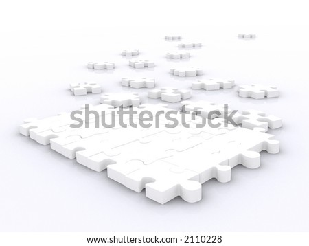 big puzzle unsolved made in 3d over white - stock photo