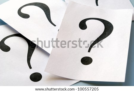 big question mark on the paper - stock photo