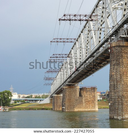 big railway bridge over the wide river
