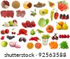 big raw food collection, fruits, vegetables and meat - stock photo