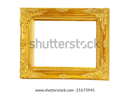Big rectangular frame in pure gold color