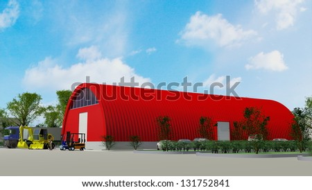 Big red aluminum garage for storage (3d renderinag)