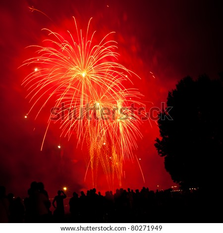 Big red and orange fireworks with silhouettes of a tree and of people watching - stock photo