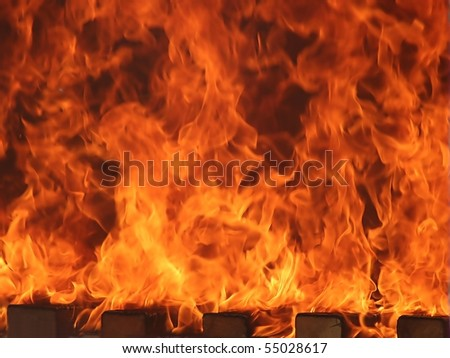 Big red and yellow fire flame - stock photo