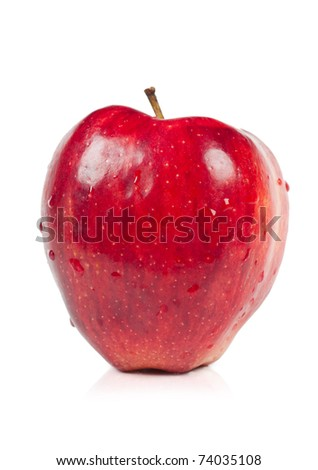 Big red apple isolated over white background - stock photo