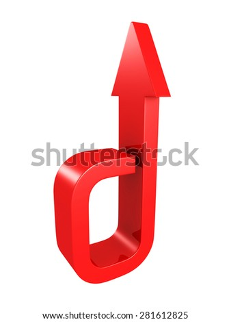 Big Red Arrow Isolated On White Background. 3d Render Illustration - stock photo
