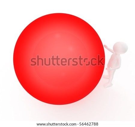 big red ball and person