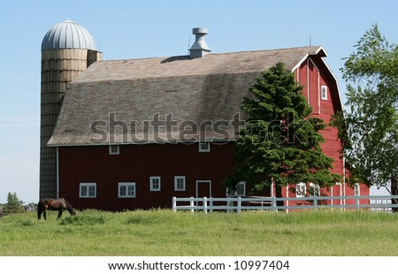 Big red barn - stock photo