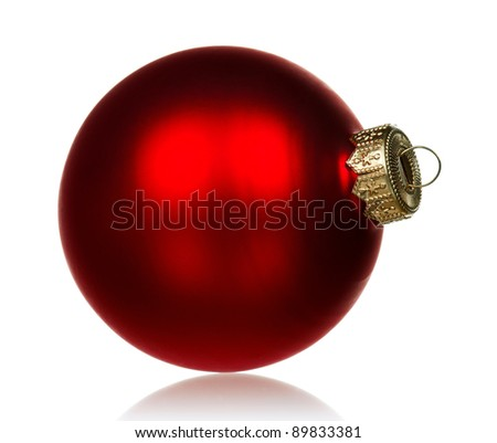 Big red bauble for christmas firtree on white background - stock photo