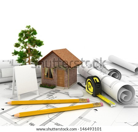 Big red beautiful house with a blank banner in white backgroundv - stock photo