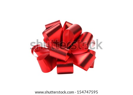 Big red bow. Isolated on a white background