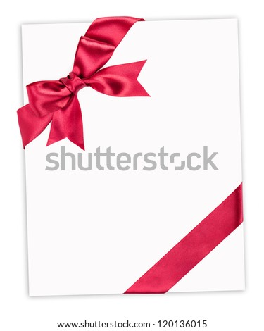 big red bow on paper sheet - stock photo