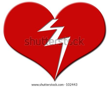Big red broken heart - stock photo