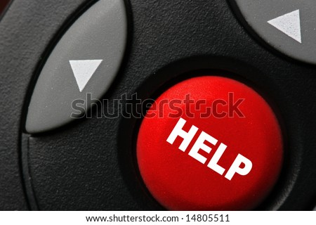 Big red button with word HELP close-up - stock photo