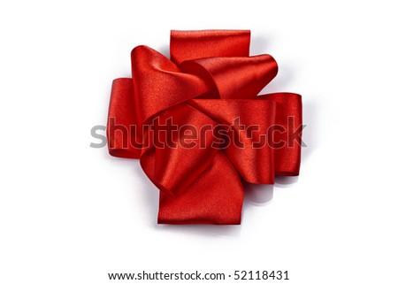 Big red celebratory bow on white background - stock photo