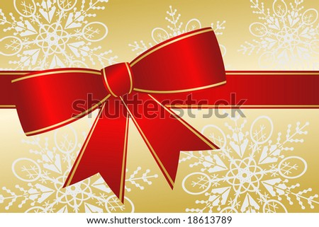 Big red Christmas ribbon bow has gold trim and satin effect on elegant snowflake background.