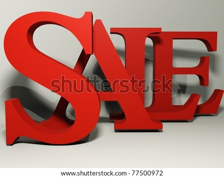 big red 3d letters forming the word SALE - 3d rendering/illustration - stock photo
