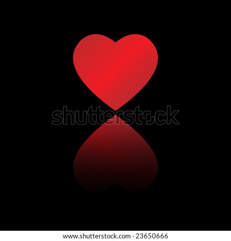 big red dappled heart with reflection on black background