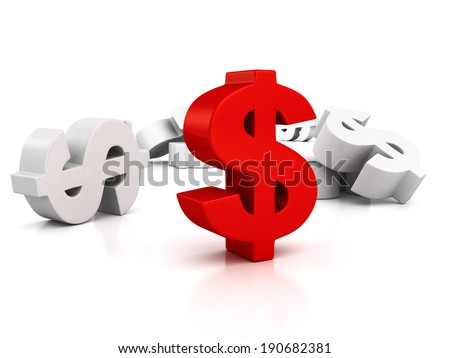 big red dollar currency symbol out from whites. business finance concept 3d tender illustration