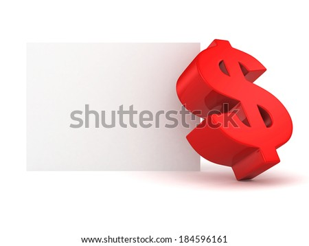 big red dollar symbol with white info text banner. 3d render illustration