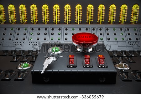 Big red emergency stop button is switching on in smoky room. Red light is flashing in the button. - stock photo