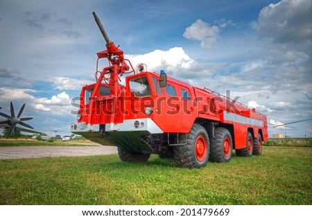 big red fire truck - stock photo
