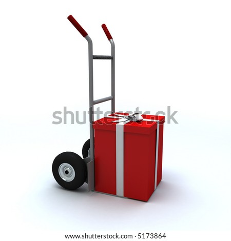 Big red gift box in a push cart