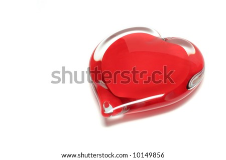 Big red glass heart isolated on white background - stock photo