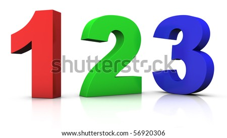 big red green and blue 3d numbers 123  - 3d rendering/illustration - stock photo