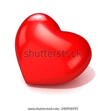 Big red heart. 3D render illustration isolated on white background. Side view - stock photo
