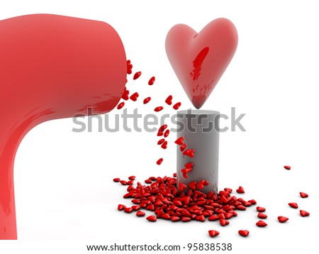 Big red heart on a pedestal and little hearts falling - stock photo