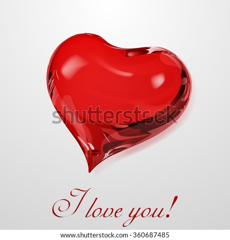 Big red heart on white background with inscription I love you - stock photo