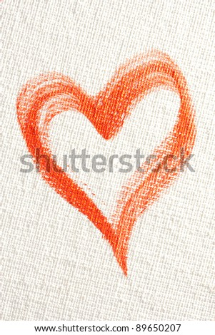 Big red heart painted in oil paint isolated on white background